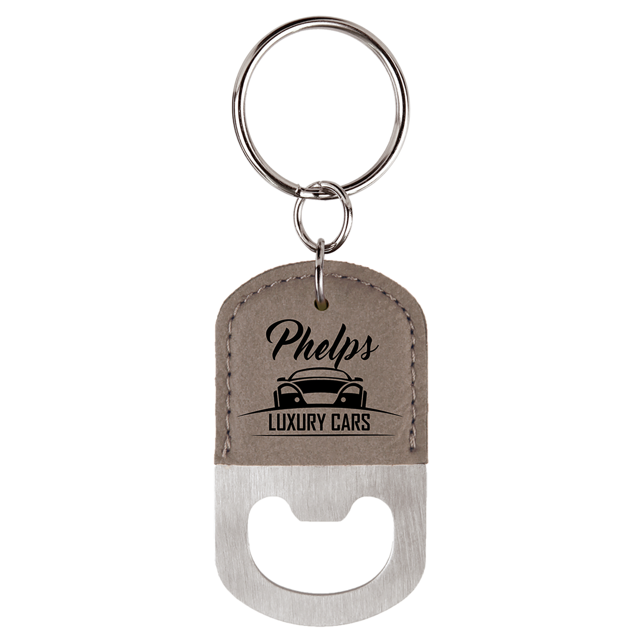 Gray Oval Bottle Opener Keychain with Custom Laser Engraving