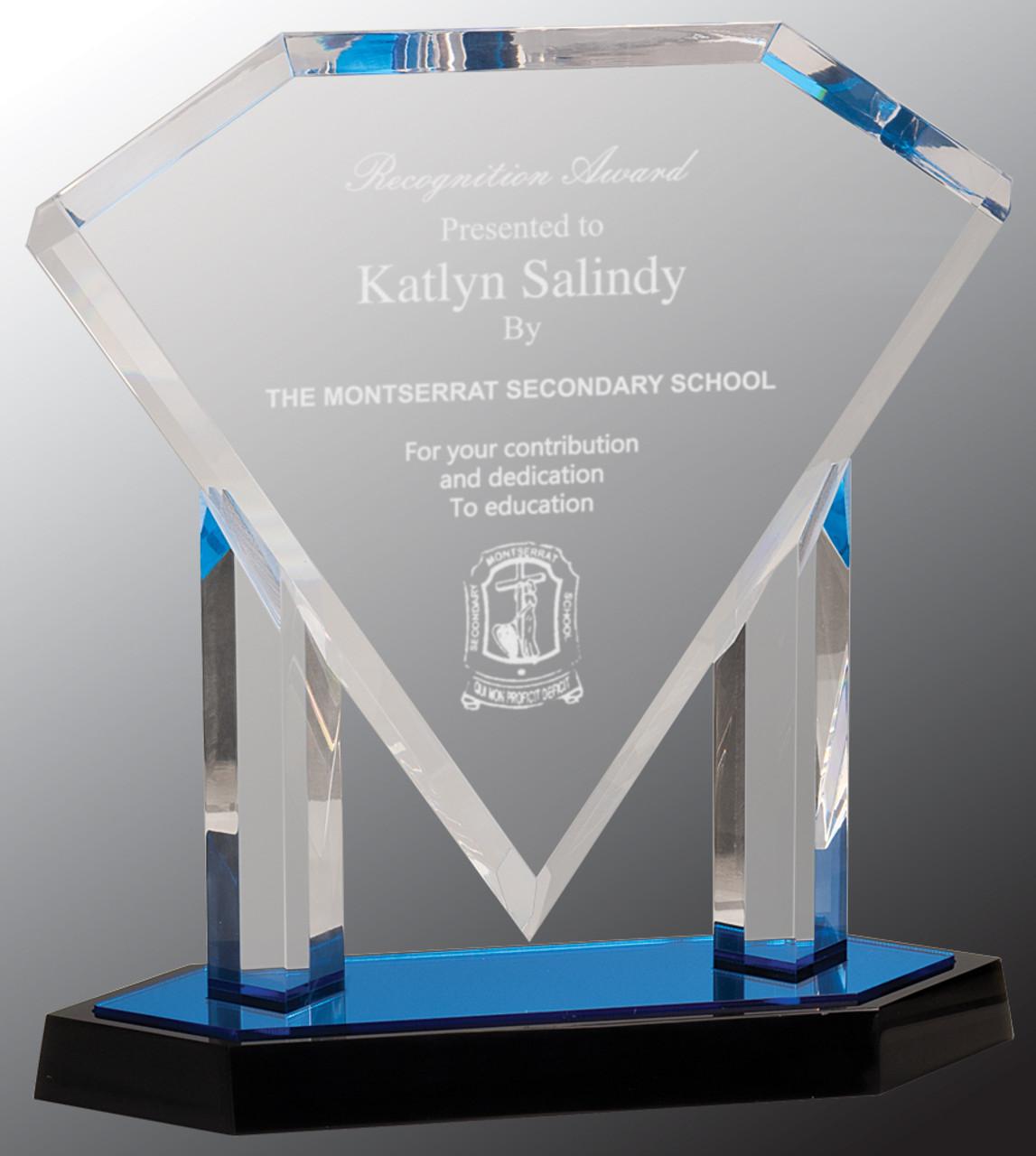 Custom Engraved Clear Acrylic Floating Diamond Award with Blue Base (10 75