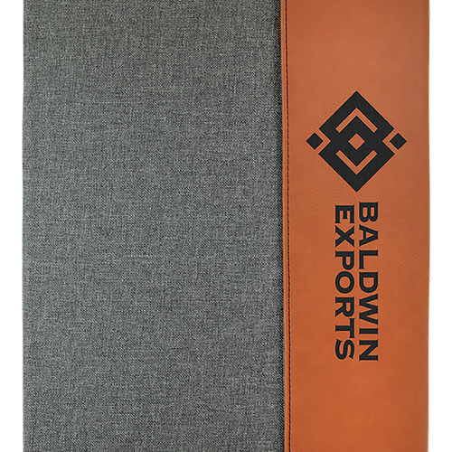 leather, leatherette, custom, porfolio, notepad, engravable, laser engrave, rawhide, brown, gray, silver