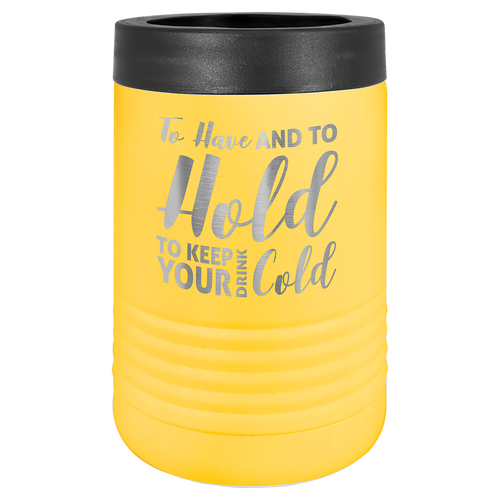 Beverage holder, Stainless Steel, yellow, engravable, personalized, insulated, bottle, beer
