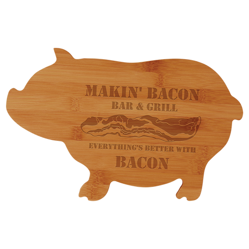 """Cutting Board Engraved Bamboo Pig Shaped 13.5"""" x 8.75"""""""