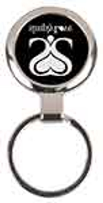 Black Round Metal Keychain with Custom Laser Engraving