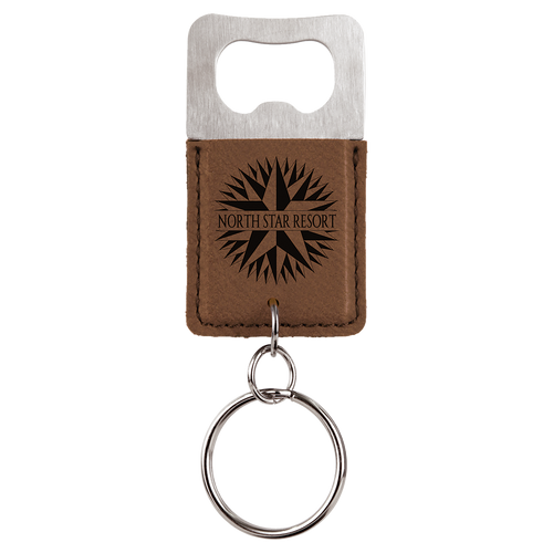 Dark Brown Leatherette Bottle Opener Keychain with Custom Laser Engraving