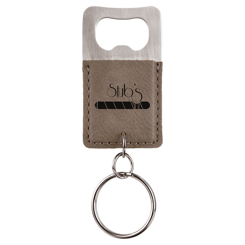 Gray Leatherette Bottle Opener Keychain with Custom Laser Engraving