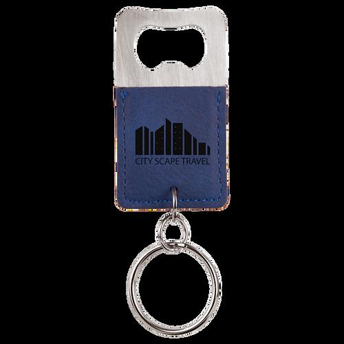 Blue Leatherette Bottle Opener Keychain with Custom Laser Engraving