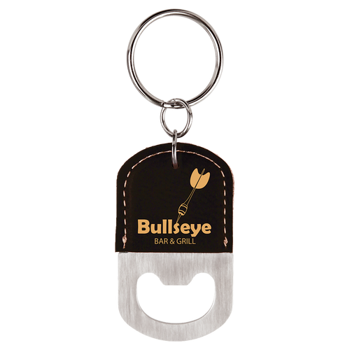 Black/Gold Oval Bottle Opener Keychain with Custom Laser Engraving