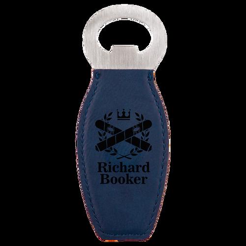 Blue Magnetic Bottle Opener with Custom Laser Engraving