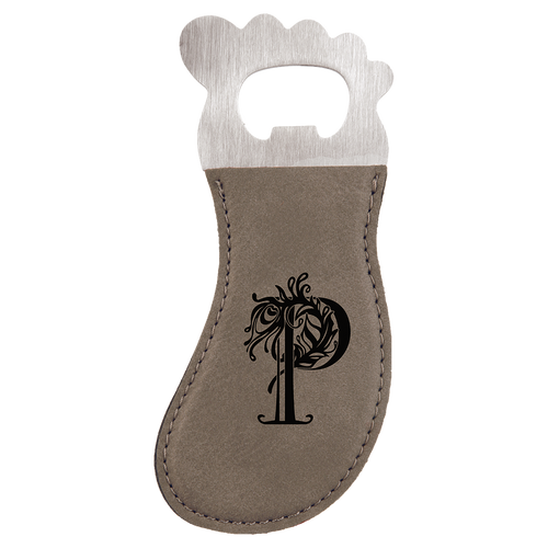 Gray Leatherette Magnetic Foot Bottle Opener with Custom Laser Engraving