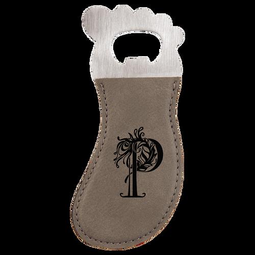 Gray Magnetic Foot Bottle Opener with Custom Laser Engraving