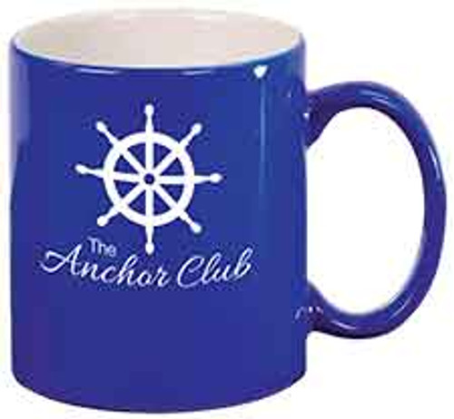 Blue Round Coffee Mug Engraves White