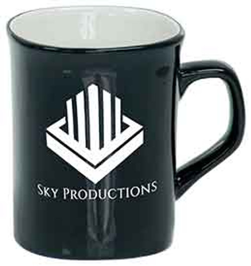 Black 10 oz Rounded Lip Coffee Mug Engraves White