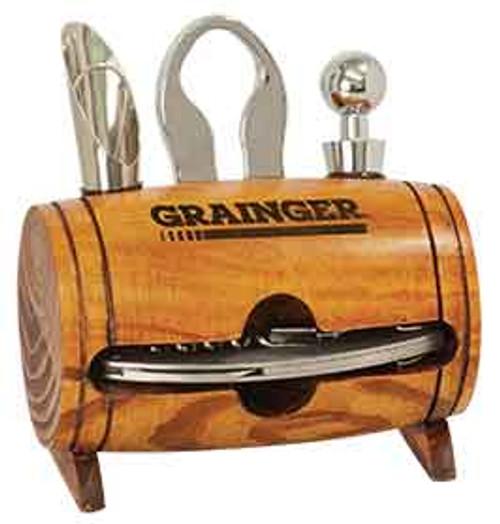 Engraved Barrel 4-Piece Wine Tool Set