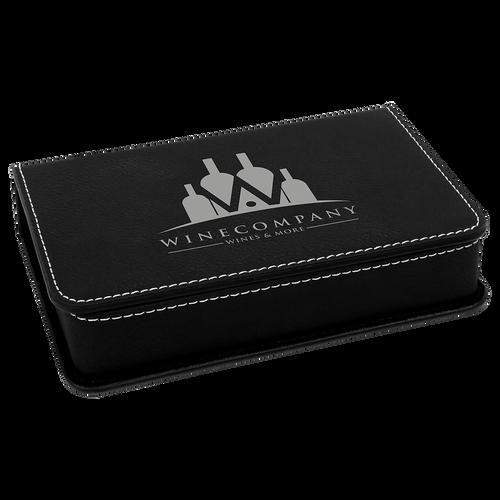 Engraved Black/Silver Leatherette 2-Piece Wine Tool Set