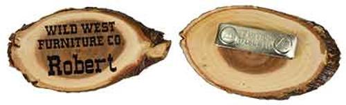 Engraved Oval Elmwood Badge