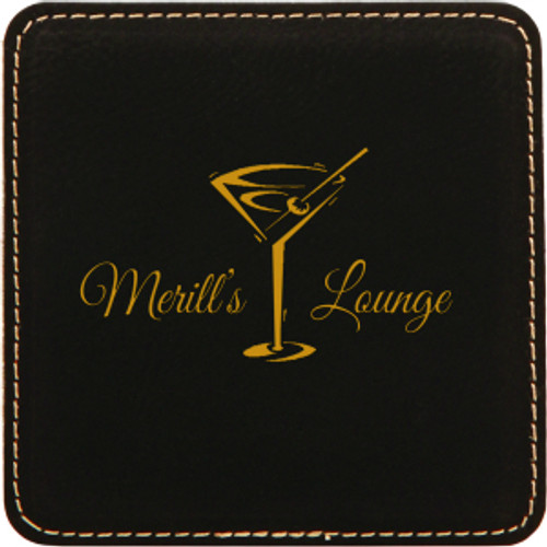 Black/Gold Leatherette Coaster  with Custom Laser Engraving