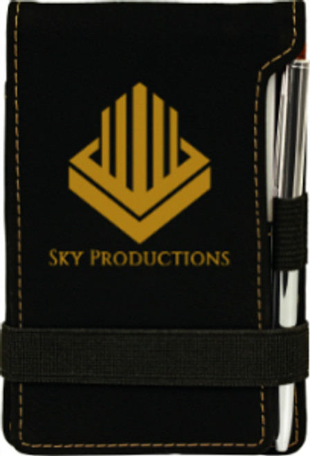 Black/Gold Leatherette Small Notepad with Custom Laser Engraving