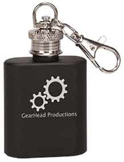 1 oz. Black Stainless Steel Flask Keychain