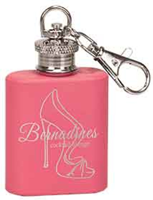 1 oz. Pink Stainless Steel Flask Keychain