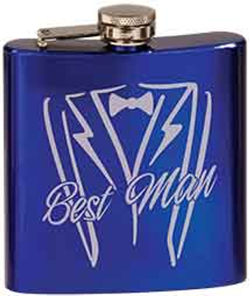 6 oz. Blue Stainless Steel Flask