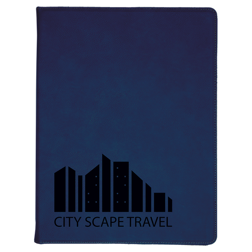Blue Leatherette Portfolio with Custom Laser Engraving