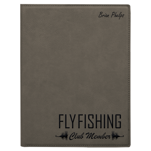 Gray Leatherette Small Portfolio with Custom Laser Engraving