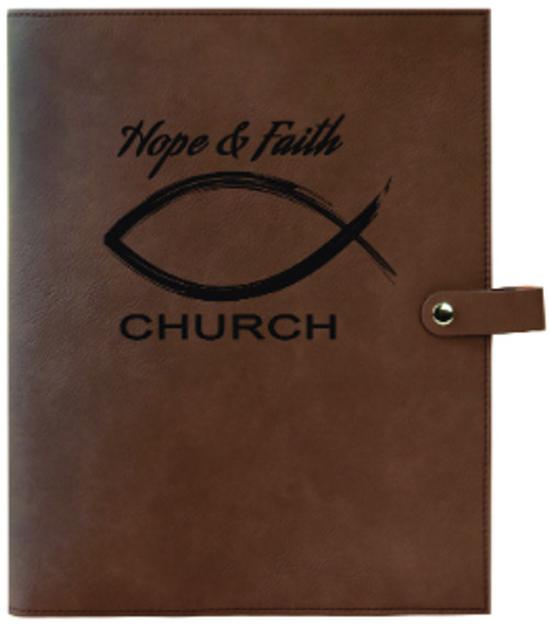 Dark Brown Leatherette Large Book Cover Snap Close with Custom Laser Engraving