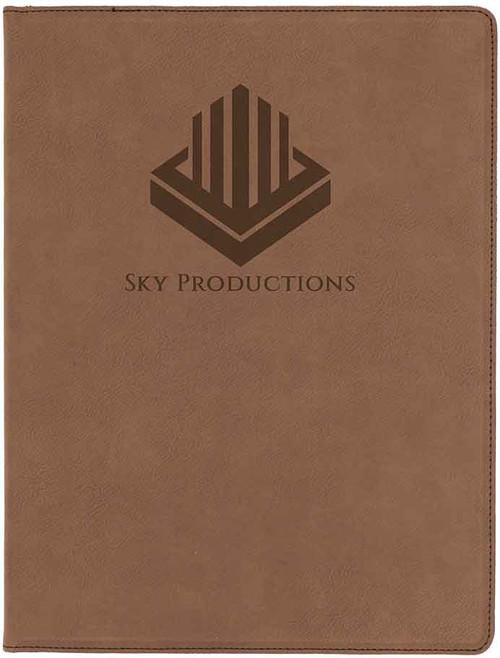 Brown Leatherette Portfolio with Custom Laser Engraving