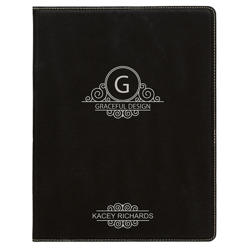 Black/Silver Leatherette Small Portfolio with Custom Laser Engraving