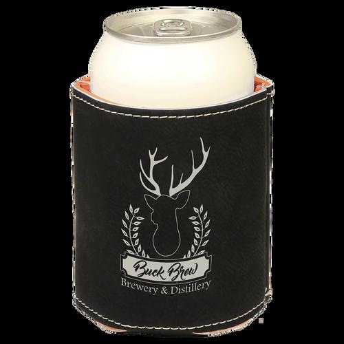 Black/Silver Leatherette Beverage Holder with Custom Laser Engraving