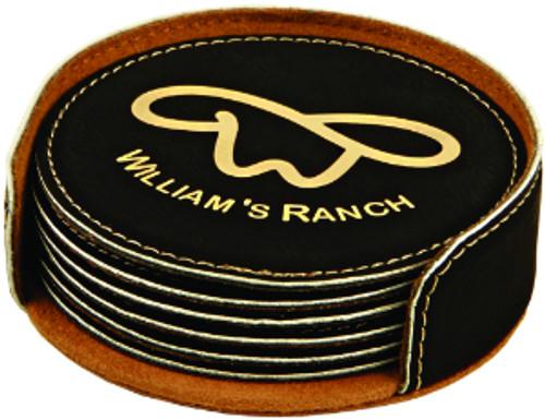 Black/Gold Round Leatherette Coaster Set with Custom Laser Engraving