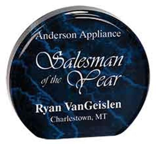 "Custom Engraved Blue Marble Acrylic Circle Award (4.5"")"