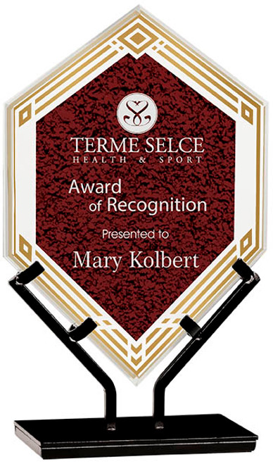"Custom Engraved Red Acrylic Double Diamond Award on Iron Stand (9.5"")"