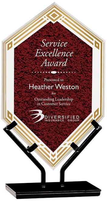 "Custom Engraved Red Acrylic Double Diamond Award on Iron Stand (10.5"")"