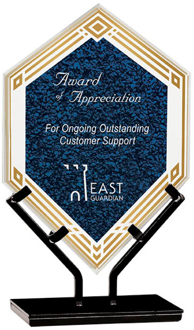 "Custom Engraved Blue Acrylic Double Diamond Award on Iron Stand (9.5"")"