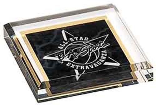 "Custom Engraved Black Marbleized Acrylic Paperweight (3.75"" x 3.75"")"