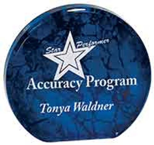 "Custom Engraved Blue Aurora Acrylic Circle Award (5.5"")"