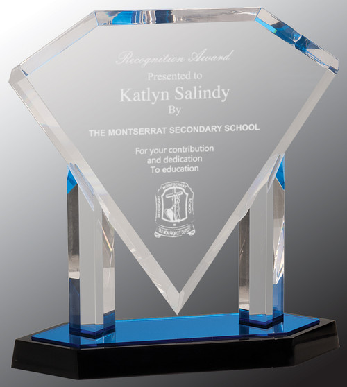 "Custom Engraved Clear Acrylic  Floating Diamond Award with Blue Base (10.75"")"