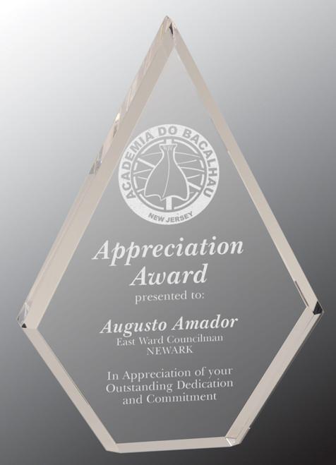 """Custom Engraved Clear Acrylic Diamond Award (5.75"""" x 8"""")"""