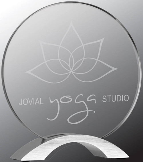 """Custom Engraved Clear Acrylic Round with Silver Base (7.25"""")"""