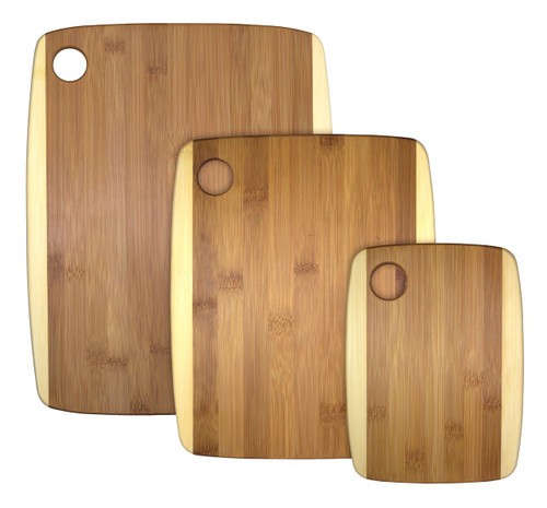 Engraved Two-Tone Bamboo Cutting Board Set
