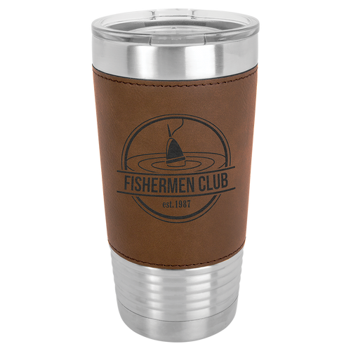 Leatherette, professional, stainless steel, leather, dark brown, 20 oz, cup, travel