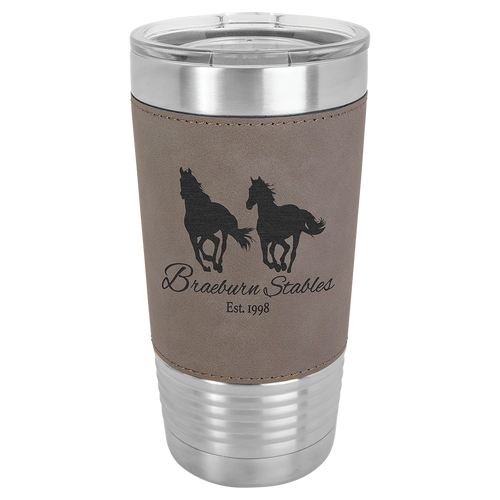 Leather, Gray, Travel cup, 20 oz, gifts, Stainless Steel, clear lid, laser engrave, faux leather, leatherette