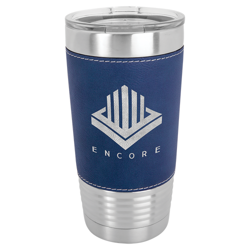 Stainless Steel Tumbler 20 oz with Blue Leather Wrap