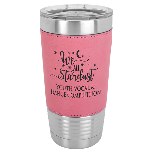 Leather, Pink, Travel cup, 20 oz, gifts, Stainless Steel, clear lid, laser engrave, faux leather, leatherette