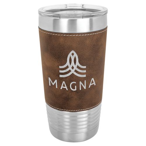 Stainless Steel Tumbler 20oz with Brown Leather Wrap