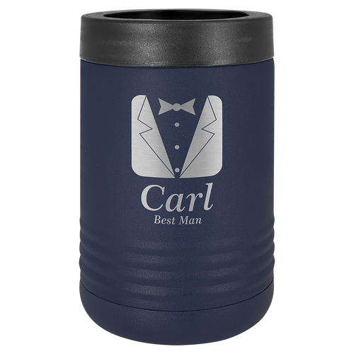 Insulated, Beverage Holder, Stainless Steel, double-walled, 12 ounce, 16 ounce, screw on lid, Navy Blue