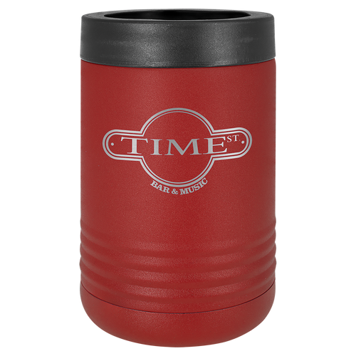 Insulated, Beverage Holder, Stainless Steel, double-walled, 12 ounce, 16 ounce, screw on lid, Maroon