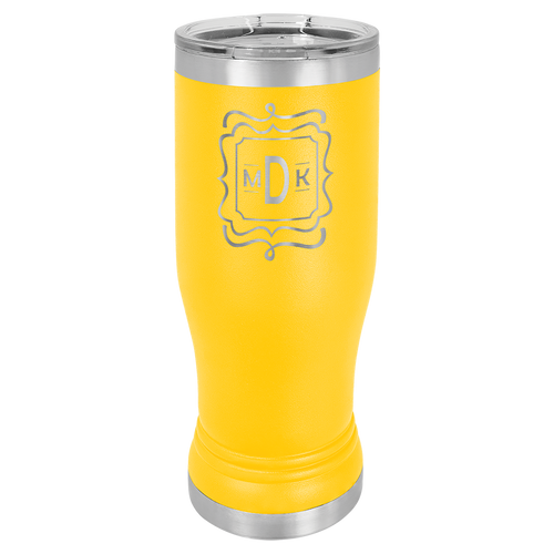 14 oz, Pilsner, Stainless Steel, Yellow, insulated, double wall, lid