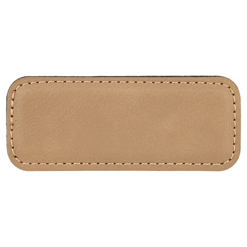 """3 1/4"""" x 1 1/4"""" Light Brown Laserable Leatherette Badge Blank with Magnet"""