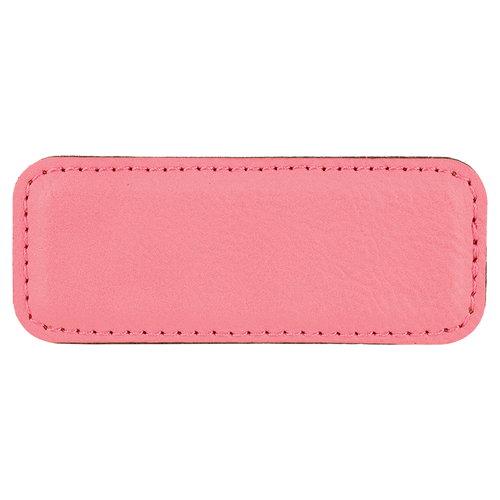"""3 1/4"""" x 1 1/4"""" Pink Laserable Leatherette Badge Blank with Magnet"""